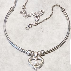 Brighton Heart Necklace with floating Pearl
